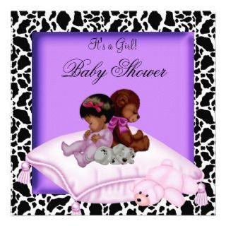 African American Baby Shower Girl Purple Custom Announcements