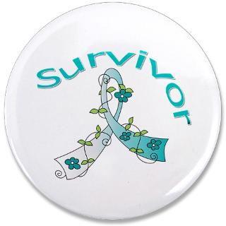Cervical Cancer Survivor Floral Awareness Ribbon Shirts, Tees, Apparel