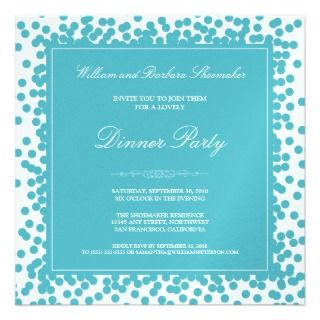 Aqua Confetti Dinner Party Invitation