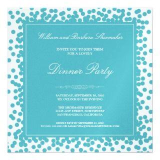 Aqua Confetti Dinner Party Invitation