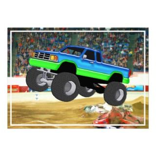 Monster Truck in the Arena Custom Invitations
