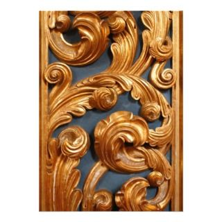 Golden Wood Carving Pattern Custom Announcements