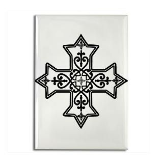 Black and White Coptic Cross Mini Button (100 pack
