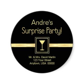 Customn Address Labels   Surprise Party Sticker