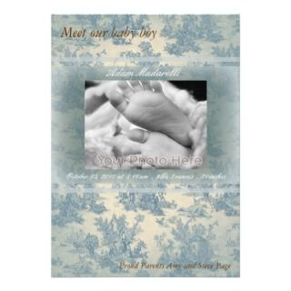 Blue vintage baby boy birth announcement