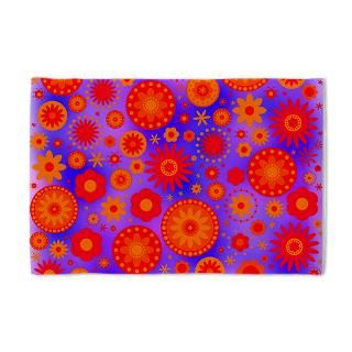 Orange Red and Purple Hippie Flower Pattern Pillow for $24.00