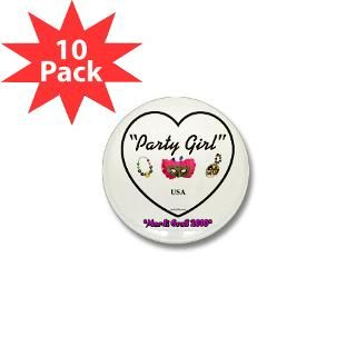 Party Girl USA   Mardi Gras 2.25 Button (10 pack)
