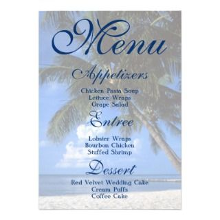 Beach theme   menu wedding   elegant party personalized announcements