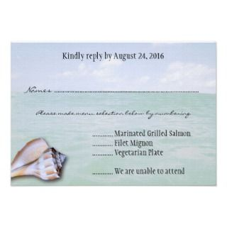 Island Whelk Tropical Wedding Menu Reply Cards Custom Invite