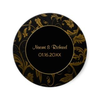Gold and Black Damask Wedding Seal   Customize Round Sticker
