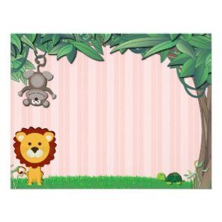 Jungle Friends Pink Note Cards Invite