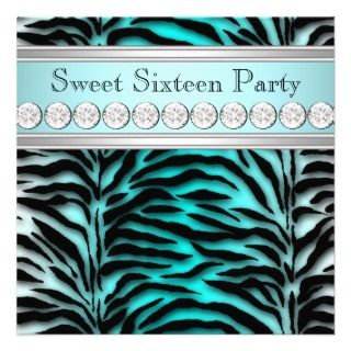 Teal Blue Zebra Sweet 16 Birthday Party Invitations