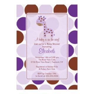 Purple Giraffe Baby Shower Invitation