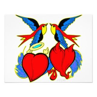 Swallows and Hearts Tattoo Custom Invitations