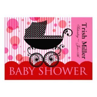 Elegant Retro Baby Carriage   Baby Shower Party Custom Invite
