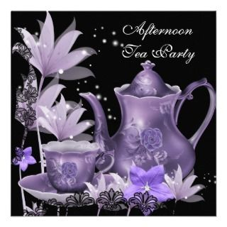 Afternoon Tea Party Vintage Pink Rose Teapot Personalized Announcement
