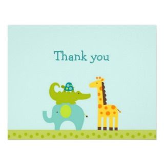 Mod Safari Jungle Animal Thank You Note Cards Personalized Invites