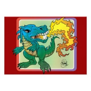 Dragon Art inspired by little t by Scott Rosema Custom Invites