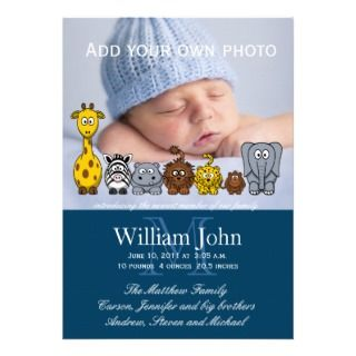 Blue Baby Boy Birth Announcement Jungle Animal