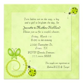 Lime Green Couples Twins Baby Shower Invitation