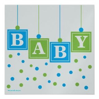 BABY Blocks Blue Green Boy Baby Shower  CUSTOM v2 Custom Invites