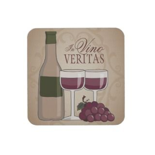 In Vino Veritas Wine Bottle Glasses & Grapes Beverage Coaster