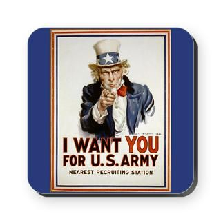 WWII Uncle Sam Recruiting Poster Art Cork Coaster