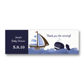 Ahoy Mate Blue Whale Baby Shower Favor Tag Business Card Template
