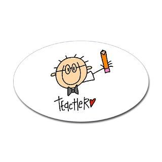 Male Teacher Oval Sticker  Male Teacher Stick Figure T shirts and