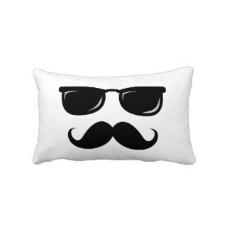 Funny incognito smiley mustache trendy hipster throw pillows
