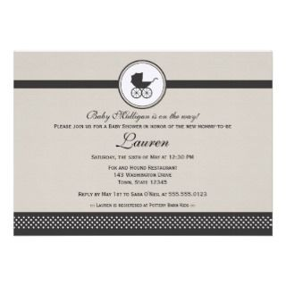 Vintage Baby Carriage Baby Shower Custom Invitation