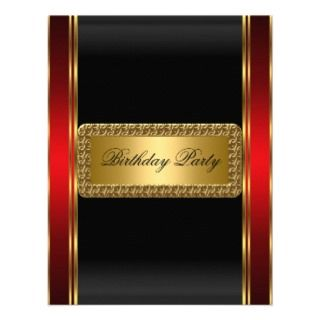 Gold Black and Red Art Deco Invitation