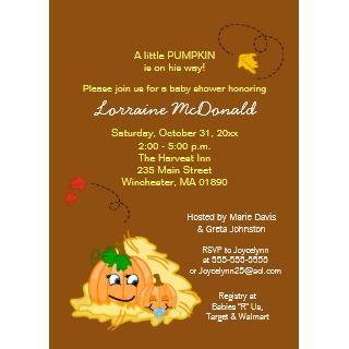 Fall Pumpkin Baby Shower Invitation   Baby Boy by allpetscherished