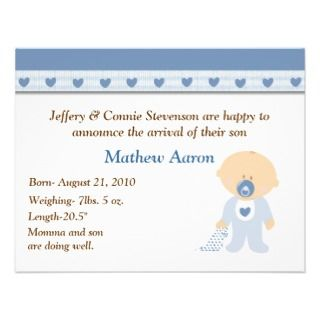 Cartoon Baby Boy Birth Announcement