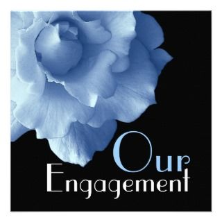 Engagement   Elegant Baby Blue Rose Custom Invitation
