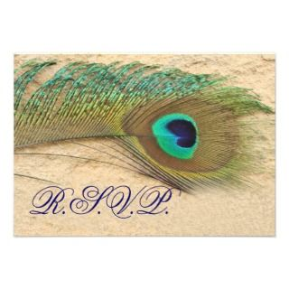 blue peacock rsvp cards standard 3.5 x 5 personalized invites