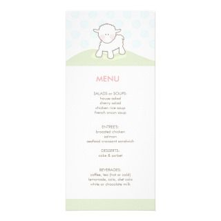 Little Lamb Baby Shower Menu Custom Rack Card