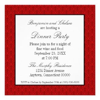 Metro Retro Dinner Party Invite, Dark Red