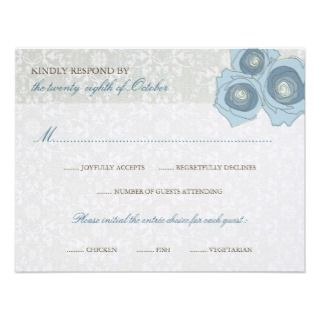 fatfatin Blue Roses Lace 2 Wedding RSVP Card Announcement