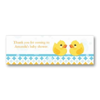 Twin Rubber Duckies Baby Shower Favor Tag Business Card Templates