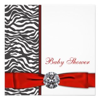 invitation this elegant red zebra baby shower invitation template is