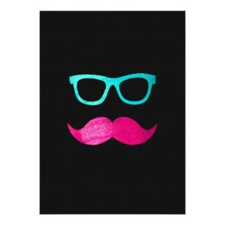 Funny Pink mustache teal hipster glasses Black Cards