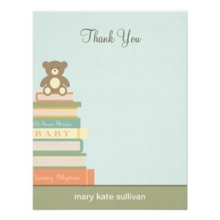Bring A Book Baby Shower Thank You Cards (Blue) Custom Invites