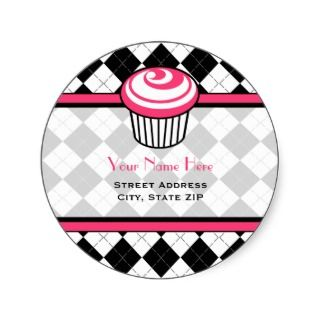 Pink Cupcake Address Label   Black Argyle Stickers