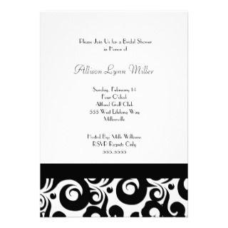 Black and white damask bridal shower invitations