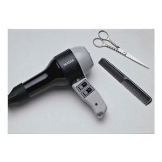 Hair dryer with scissors and comb custom announcements