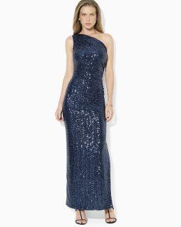 Lauren Ralph Lauren One Shoulder Sequin Dress