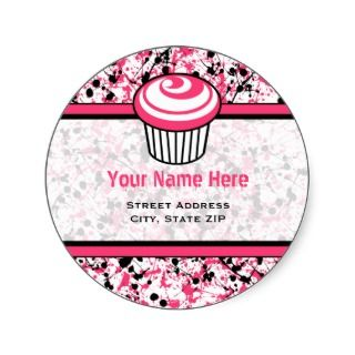 Cupcake Address Label  Black & Pink Paint Splatter Round Sticker