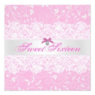 Pink & White Lace Sweet Sixteen Birthday Invite