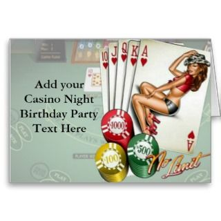 Casino Night Birthday Party Invitations Cards